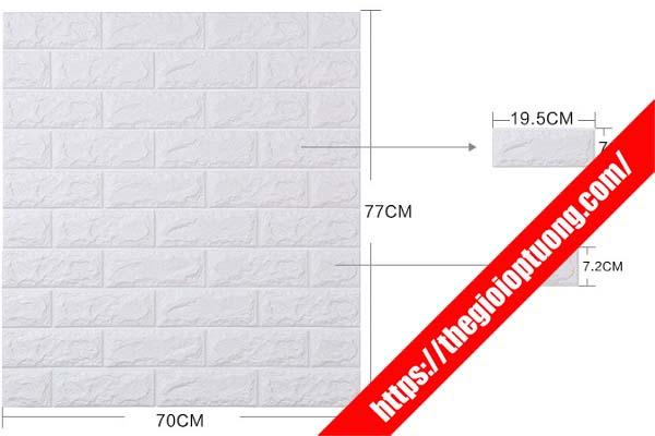 KÍCH THƯỚC TẤM Xốp dán tường 3D giả gạch 70X77CM / TẤM - 1M2 TƯỜNG CẦN CỠ 2 TẤM
