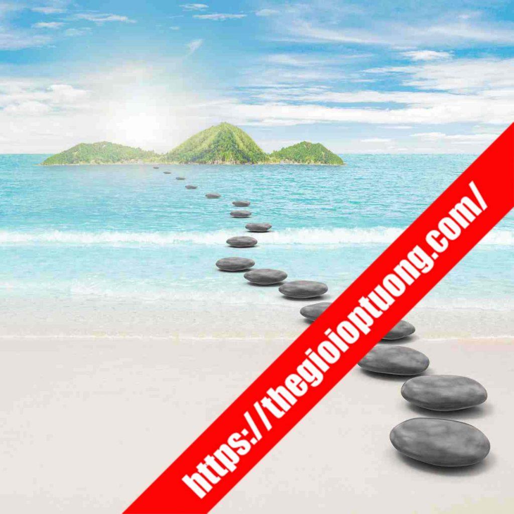 TRANH TƯỜNG CẢNH BIỂN / THÁC NƯỚC MÃ B004 . Tranh dán tường cảnh biển - Tranh tường 3D đẹp biển hồ
