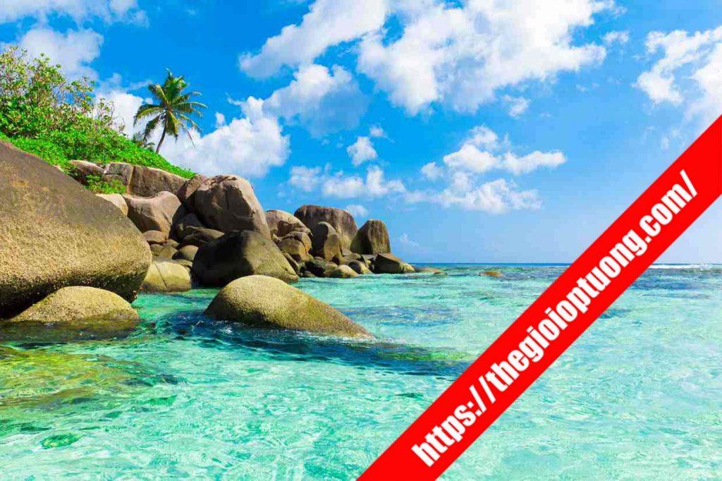TRANH TƯỜNG CẢNH BIỂN / THÁC NƯỚC MÃ B007 . Tranh dán tường cảnh biển - Tranh tường 3D đẹp biển hồ