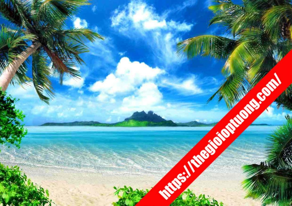 TRANH TƯỜNG CẢNH BIỂN / THÁC NƯỚC MÃ B010 . Tranh dán tường cảnh biển - Tranh tường 3D đẹp biển hồ