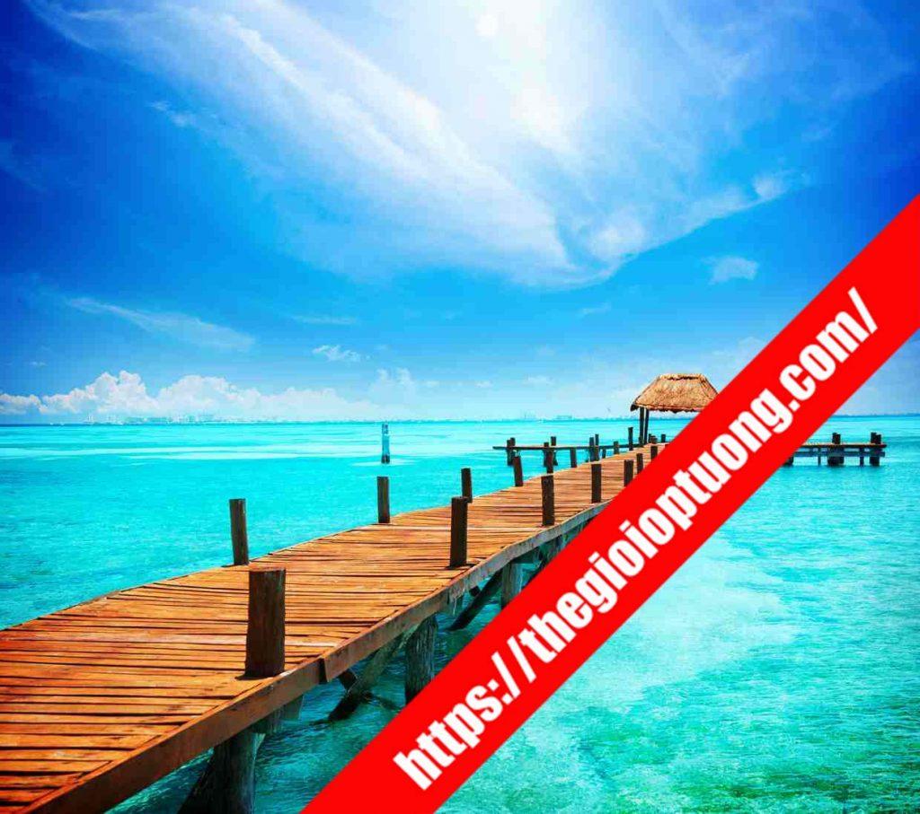 TRANH TƯỜNG CẢNH BIỂN / THÁC NƯỚC MÃ B011 . Tranh dán tường cảnh biển - Tranh tường 3D đẹp biển hồ
