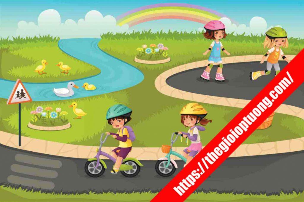TRANH TƯỜNG PHÒNG BÉ MÃ K205 . Tranh dán tường cho bé - Tranh tường 3D phòng trẻ em