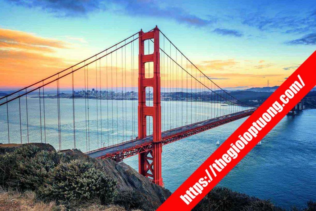Golden Gate Bridge - TRANH TƯỜNG CẢNH QUAN MÃ SW0008-1 . Tranh dán tường kỳ quan thế giới 3D - Tranh tường khổ lớn