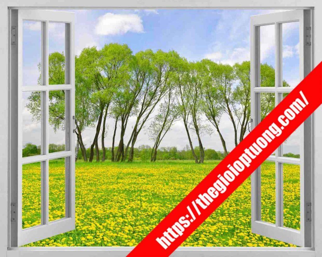 TRANH TƯỜNG CỬA SỔ MÃ WN0061 . Tranh dán tường cửa sổ - Tranh tường 3D độc đáo