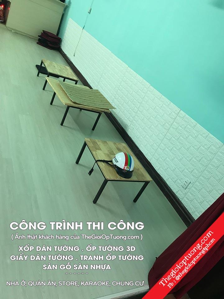 Tấm xốp dán tường 3D giả gạch quận 10 - Hình ảnh thi công quán CAFE