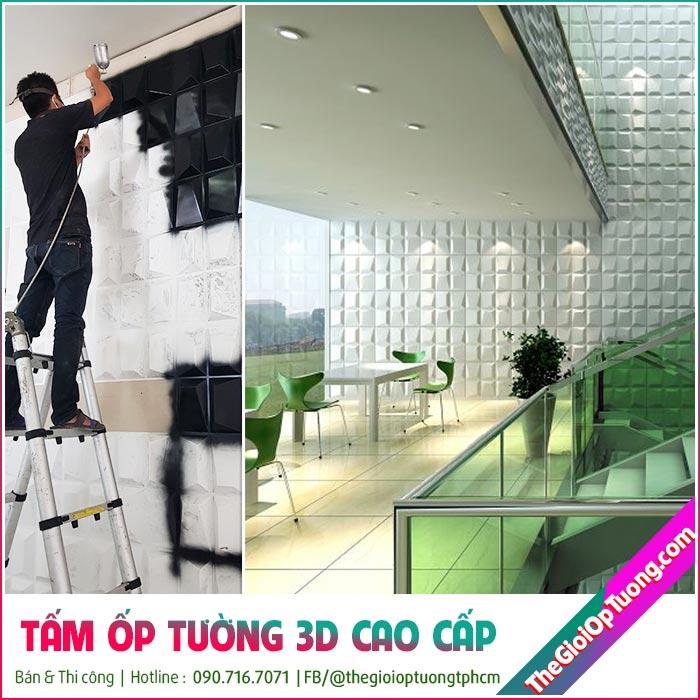 Thi công tấm ốp tường 3d, ốp 3D nhựa cao cấp BH 10 năm
