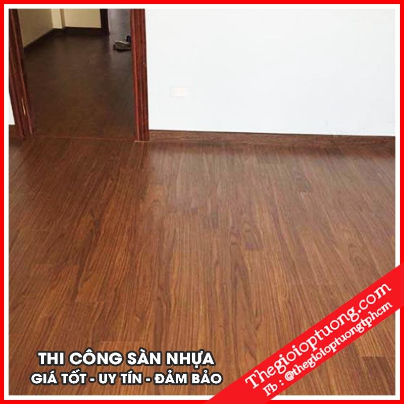 Thi công sàn nhựa giả gỗ - lát sàn vân gỗ đẹp giá rẻ