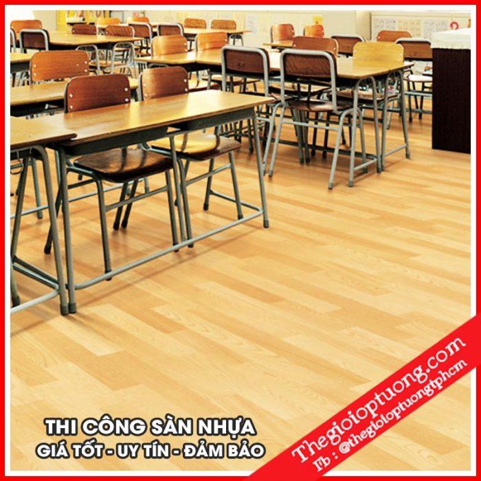 Thi công sàn nhựa hèm khóa - sàn nhựa giả gỗ chống thấm