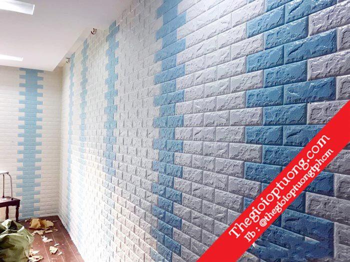 Xốp dán tường giả gạch   Giấy dán tường 3D - SALE lớn Tết 2019