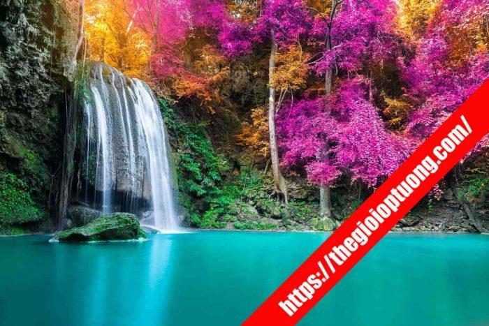 Tranh dán tường thác nước - mẫu tranh tường đẹp spa, yoga