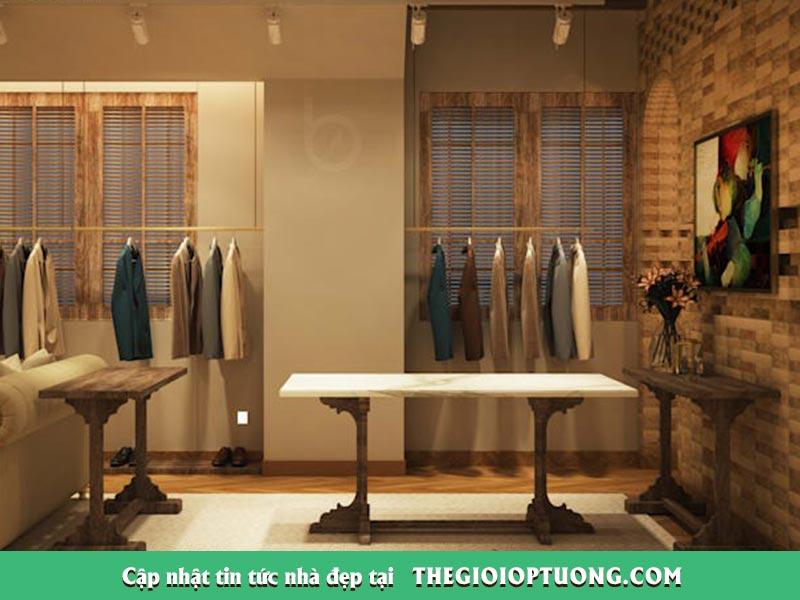 Thi công nội thất shop thời trang - Xốp giấy dán tường, sàn gỗ