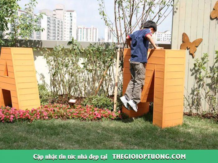 Thiết kế khu vui chơi cho bé với sân vườn nhỏ xinh