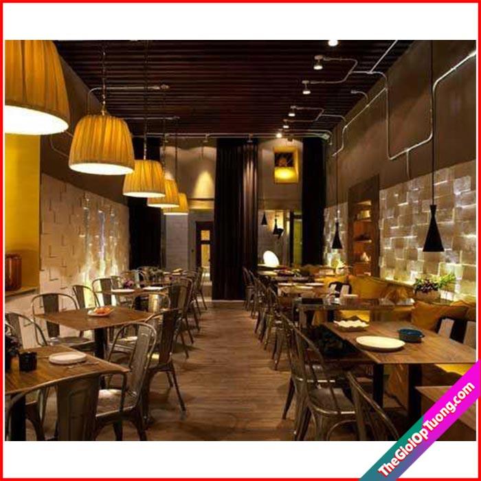 Thi công nội thất nhà hàng hiện đại - Xốp giấy dán tường, sàn gỗ