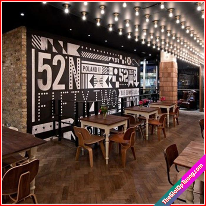 Giá thi công nội thất quán cà phê - Xốp giấy tranh dán tường 3d đẹp