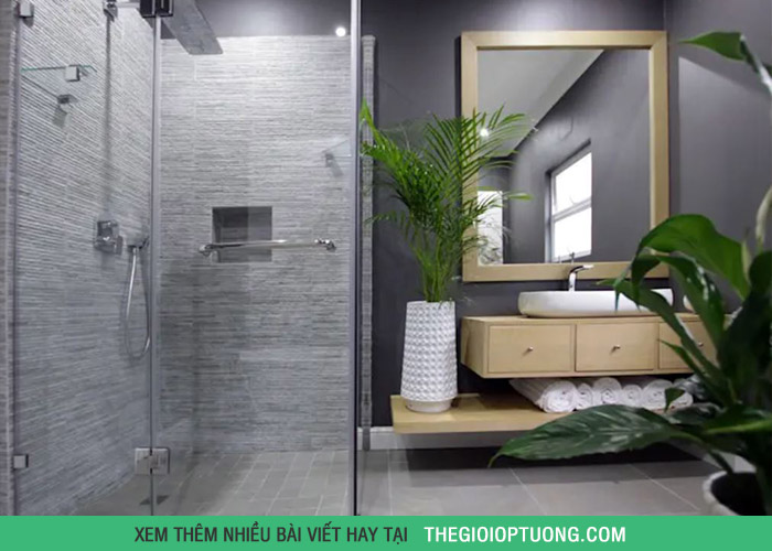 6 kiểu trang trí phòng tắm đẹp với cây xanh tươi mát