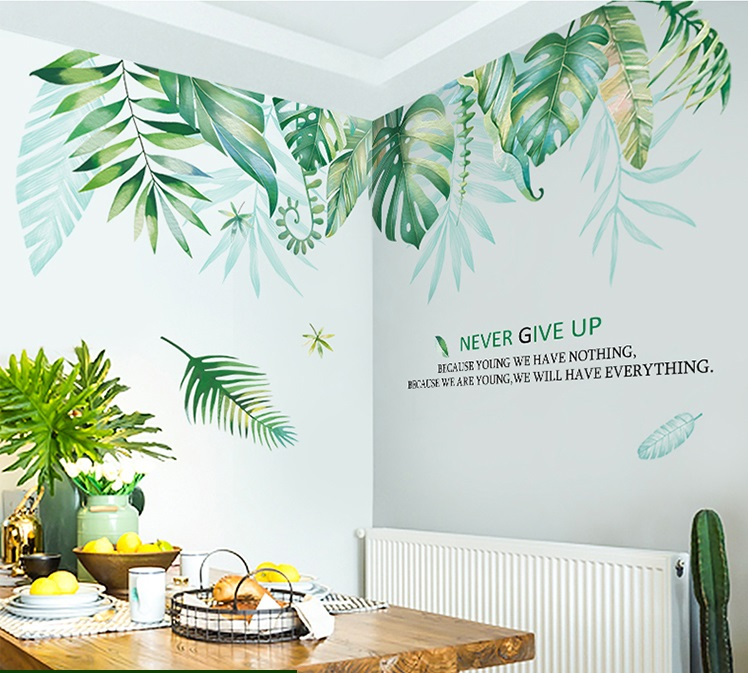 Decal dán tường hình cây lá, thiên nhiên, decal tường 3d đẹp