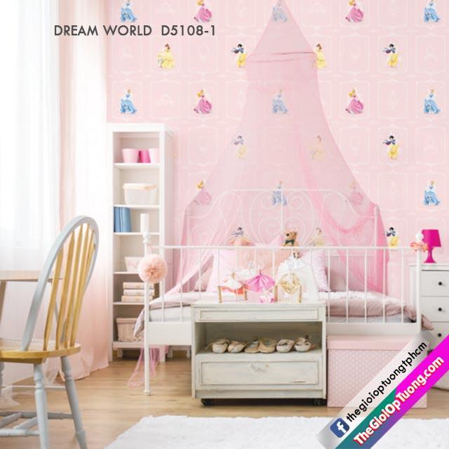 Giấy dán tường màu hồng, giấy dán tường dễ thương cho bé gái. Giấy dán tường elsa, giấy dán tường công chúa hoạt hình