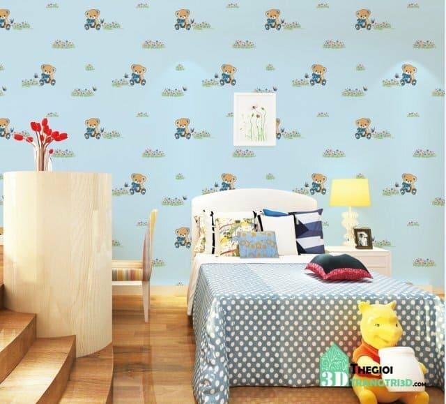 Thi công giấy dán tường dễ thương cho bé tại Hóc Môn, Củ Chi