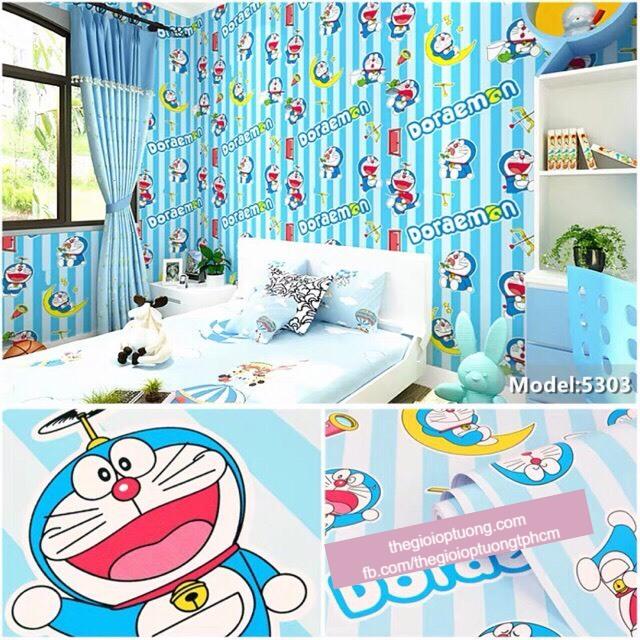 Giấy dán tường doremon, giấy dán tường hoạt hình ngộ nghĩnh cho trẻ