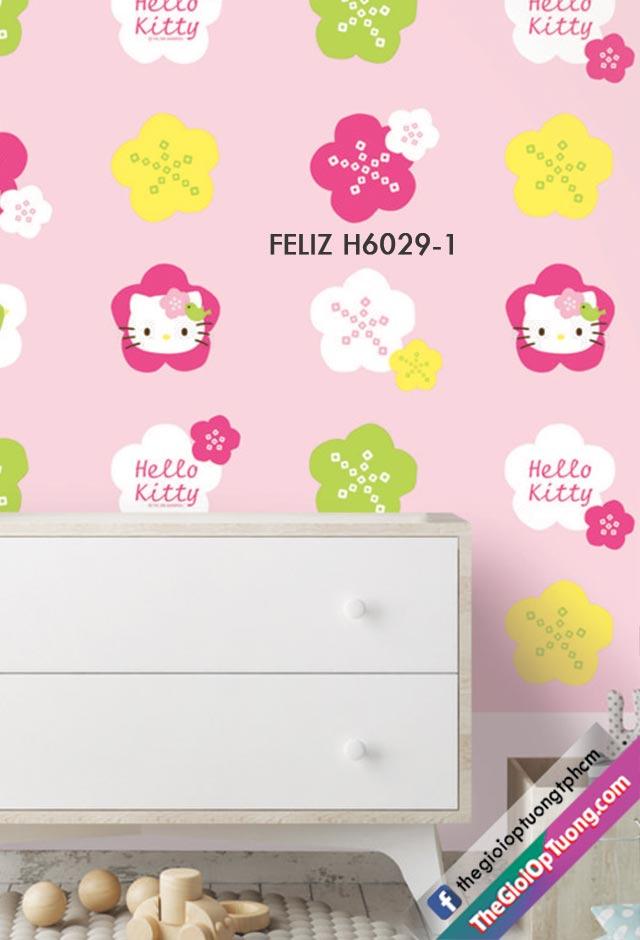 Giấy dán tường kitty, giấy dán tường con vật xinh xắn cho bé