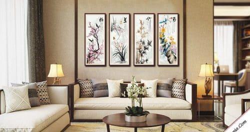 Phong thủy cho phòng khách, hướng dẫn bố trí nhà cửa phong thủy. Tranh treo tường có ý nghĩa tích cực được ưa chuộng