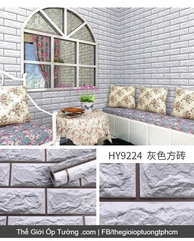 Dán tường decal hàn quốc giả gạch xốp 3D trắng xám - 9224