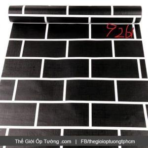 Dán tường decal hàn quốc giả gạch đen viền trắng - 9261