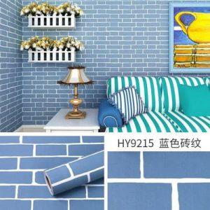 Dán tường decal hàn quốc giả gạch xanh dương - 9215