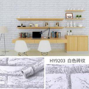Decal giấy dán tường giả gạch trắng xám - 9203
