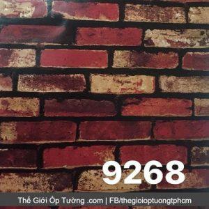 Decal giấy dán tường giả gạch đỏ xưa - 9268