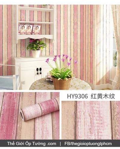 Giấy decal dán tường giả gỗ hồng vintage – 9306