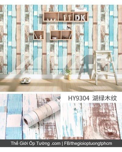 Giấy decal dán tường giả gỗ phối màu - 9304