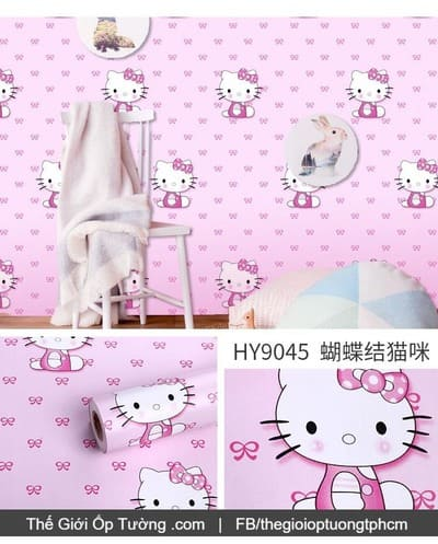 Decal dán tường phòng bé mèo kitty hồng - 9045