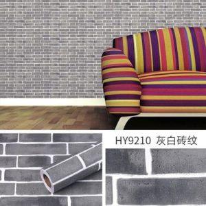 Giấy dán tường decal gạch xám đậm - 9210