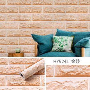 Giấy dán tường decal gạch xốp màu kem - 9241