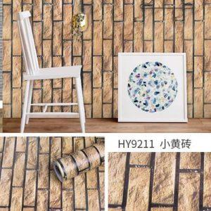 Giấy dán tường decal gạch nâu vàng viền đen - 9211