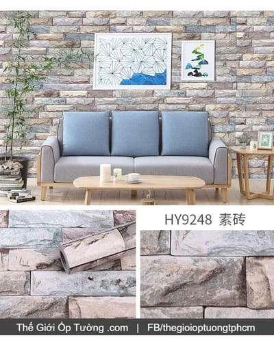 Giấy dán tường decal gạch đá phối màu tự nhiên - 9248