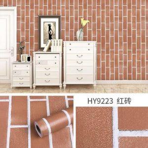 Giấy dán tường decal gạch màu nâu - 9223