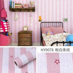 Decal dán tường phòng bé sọc hồng - 9078