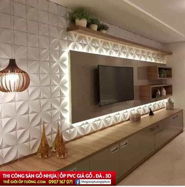Cách thi công tấm ốp tường PVC phòng khách đẹp và chuyên nghiệp