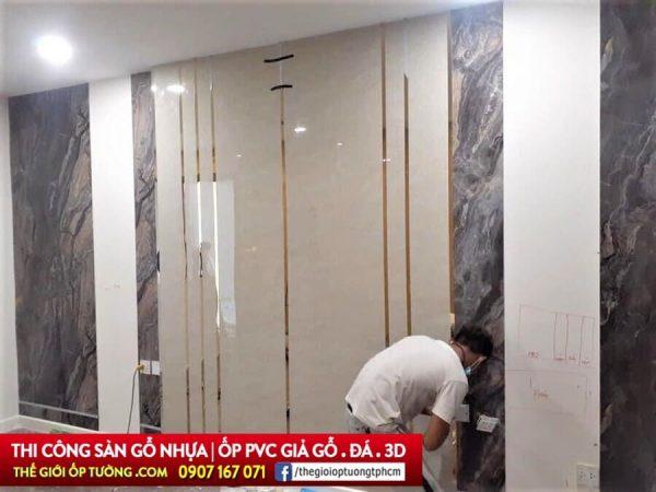 Công trình tấm ốp tường pvc giả gỗ giả đá hoa cương đẹp tphcm, cung cấp và thi công ốp tường nhựa đẹp, giá tốt